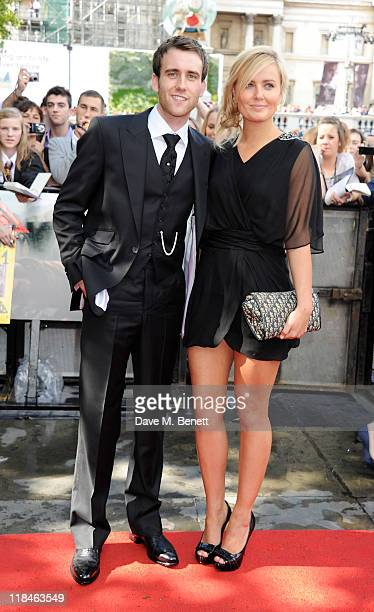 Actor Matt Lewis and guest arrive at the World Premiere of 'Harry Potter And The Deathly Hallows Part 2' in Trafalgar Square on July 7 2011 in London...