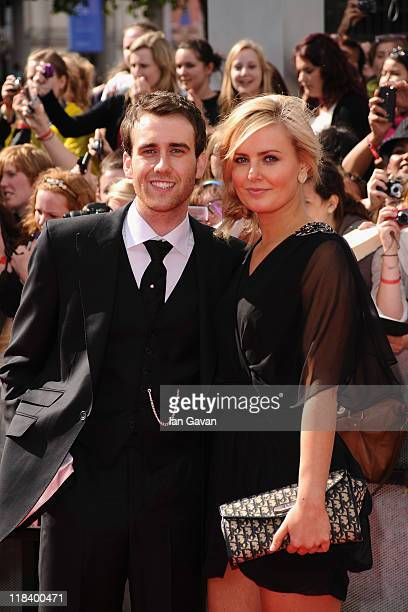Actor Matt Lewis and guest attend the World Premiere of Harry Potter and The Deathly Hallows Part 2 at Trafalgar Square on July 7 2011 in London...