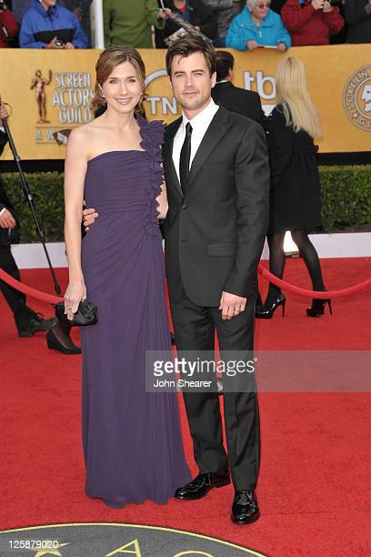 Actor Matt Long and Lora Chaffins arrive at the TNT/TBS broadcast of the 17th Annual Screen Actors Guild Awards held at The Shrine Auditorium on...
