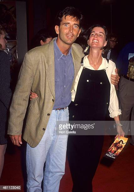 Actor Matt McCoy and wife Mary attend The Last of the Mohicans Hollywood Premiere on September 24 1992 at the Mann's Chinese Theatre in Hollywood...