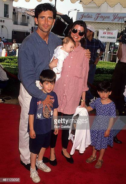 Actor Matt McCoy wife Mary chilren Casey Molly and Reilly attend The Sandlot Westwood Premiere on April 3 1993 at the Mann Village Theatre in...
