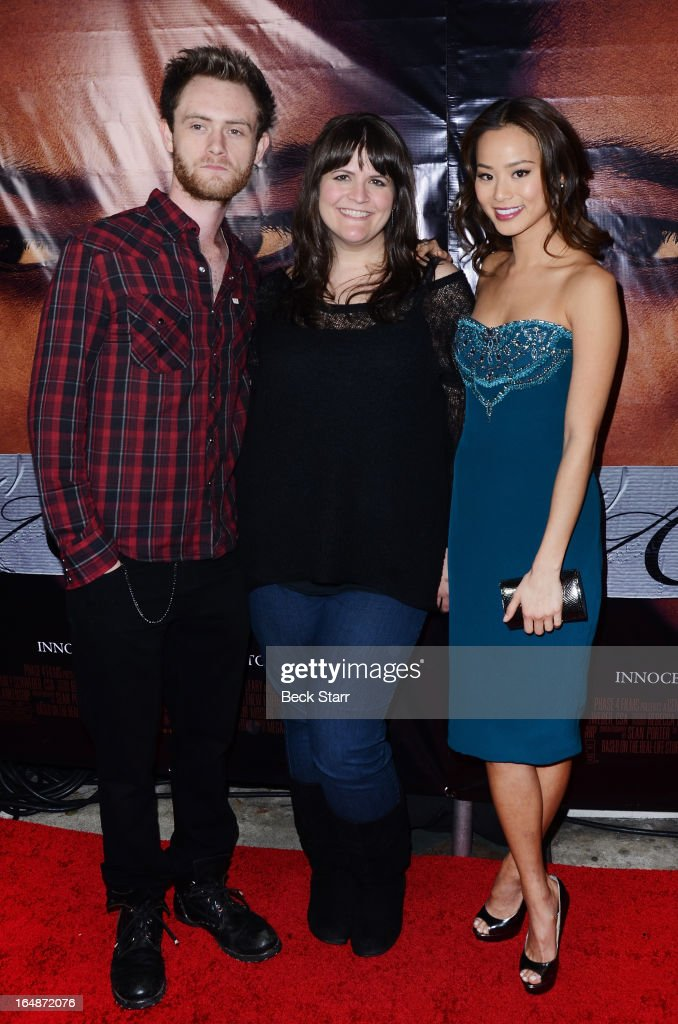 Actor Matt O'Leary, director Megan Griffiths and actress Jamie Chung arrive at the Los Angeles premiere of 'Eden' at Laemmle Music Hall on March 28, 2013 in Beverly Hills, California.