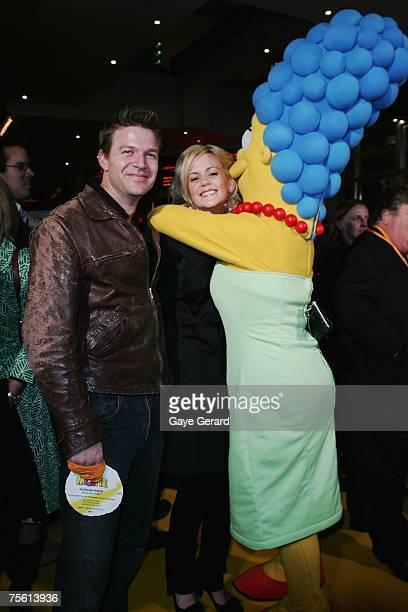 Actor Matt Passman and Actress Rachel Carpani arrive on the yellow carpet at The Simpsons Movie Australian premiere at Hoyts Entertainment Quarter...