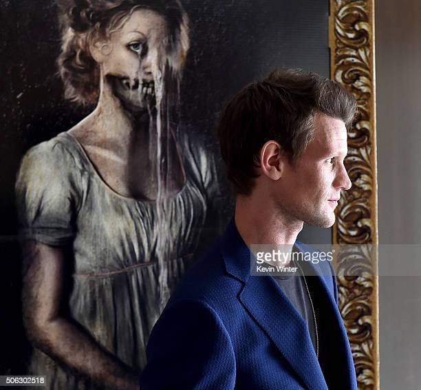 Actor Matt Smith poses at the Screen Gems' 'Pride and Prejudice and Zombies' photo call at the London Hotel on January 22 2016 in West Hollywood...