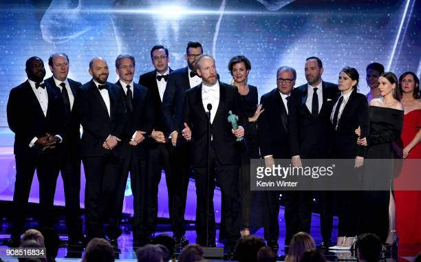 Actor Matt Walsh and castmates from 'Veep' accept the Outstanding Performance by an Ensemble in a Comedy Series award onstage during the 24th Annual...
