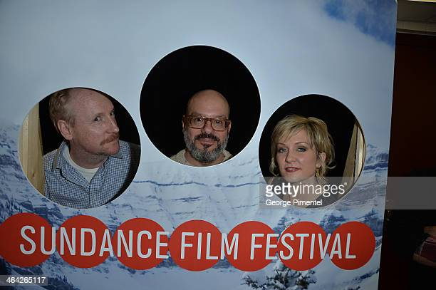 Actor Matt Walsh directer David Cross and actress Amy Carlson attend the 'Hits' premiere at Eccles Center Theatre during the 2014 Sundance Film...