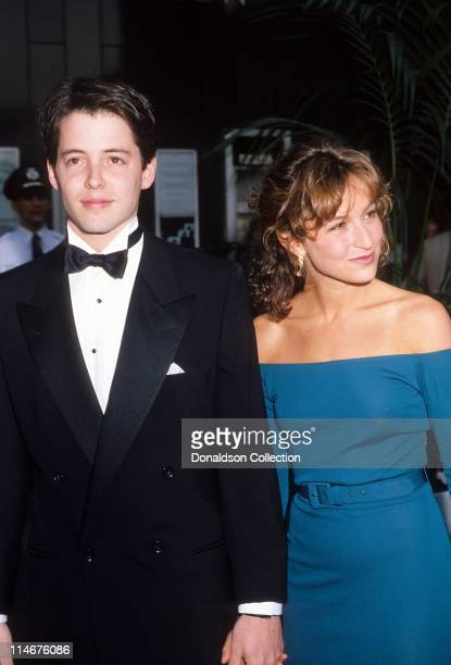 Actor Matthew Broderick and actress Jennifer Grey at Academy Awards in March 1987 in Los Angeles California