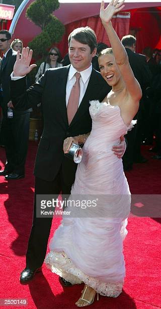 Actor Matthew Broderick and Actress Sarah Jessica Parker attend the 55th Annual Primetime Emmy Awards at the Shrine Auditorium September 21 2003 in...