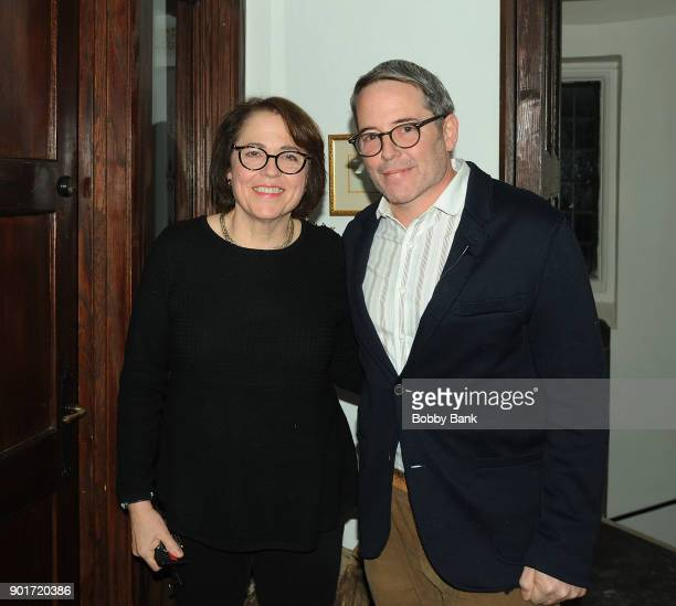 Actor Matthew Broderick and his sister Reverend Janet Broderick backstage at the reading of Truman Capote's A Christmas Memory A Reading By Matthew...