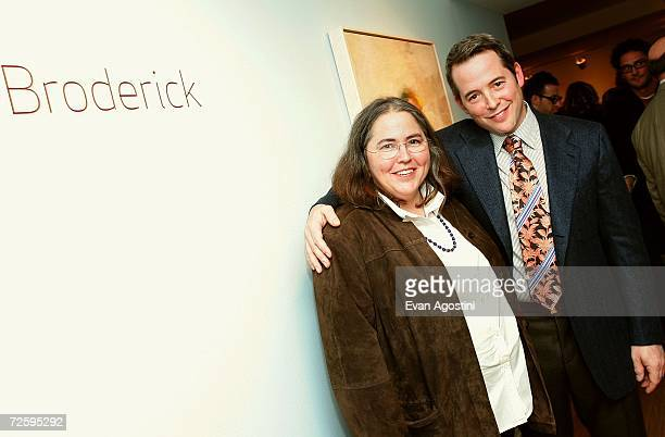 Actor Matthew Broderick and his sister the Rev Janet Broderick attend the opening night reception for the artwork of their mother Patricia Broderick...