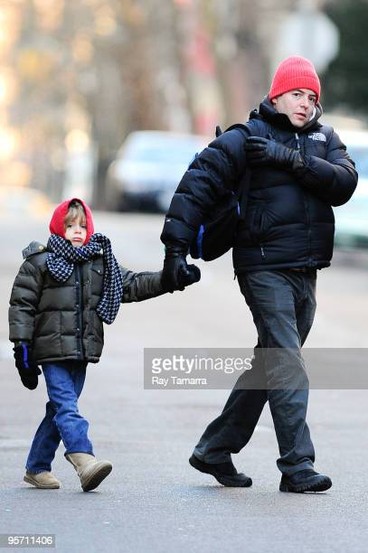 Actor Matthew Broderick and his son James Wilke Broderick walk to school in the West Village on January 11 2010 in New York City