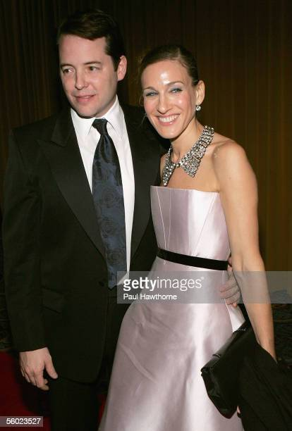 """Actor Matthew Broderick and his wife actress Sarah Jessica Parker arrive at the after party for the opening night of """"The Odd Couple"""" at the Marriott..."""