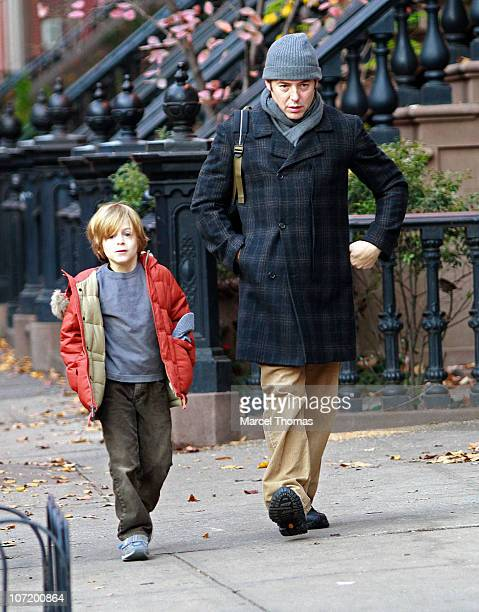 Actor Matthew Broderick and son James Wilke Broderick seen on the streets of Manhattan on November 29 2010 in New York City