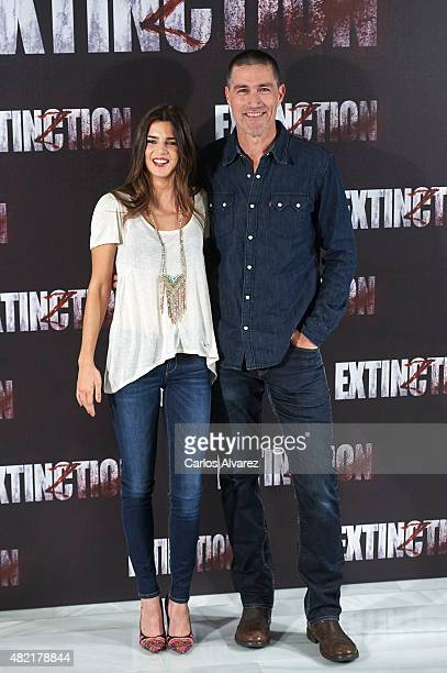 Actor Matthew Fox and Spanish actress Clara Lago attend the Extinction photocall at the NH Collection Eurobuilding on July 28 2015 in Madrid Spain