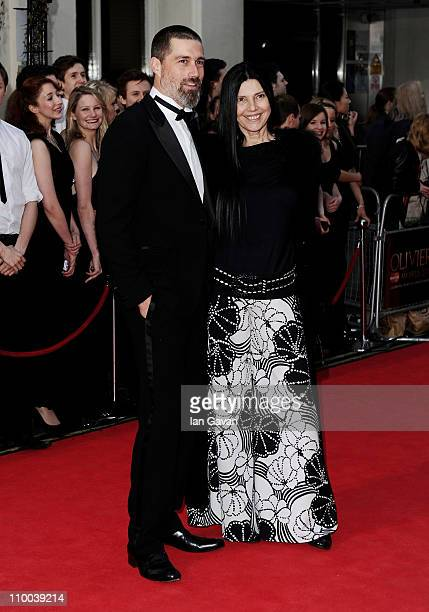 Actor Matthew Fox and wife Margherita Ronchi attend The Olivier Awards 2011 at Theatre Royal on March 13 2011 in London England