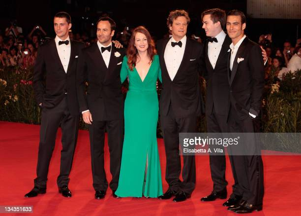 Actor Matthew Goode with director Tom Ford actress Julianne Moore and actors Colin Firth Nicholas Hoult and model Jon Kortajarena attend 'A Single...