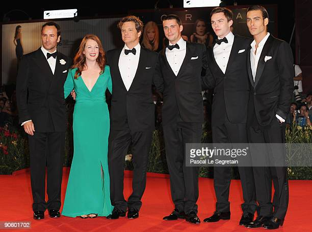 Actor Matthew Goode with director Tom Ford actress Julianne Moore and actors Colin FirthNicholas Hoult and model Jon Kortajarena attends the A Single...