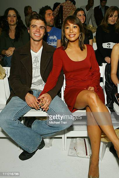 Actor Matthew Lawrence and Cheryl Burke front row at TART Spring 2008 collection during Mercedes Benz Fashion Week held at Smashbox Studios on...