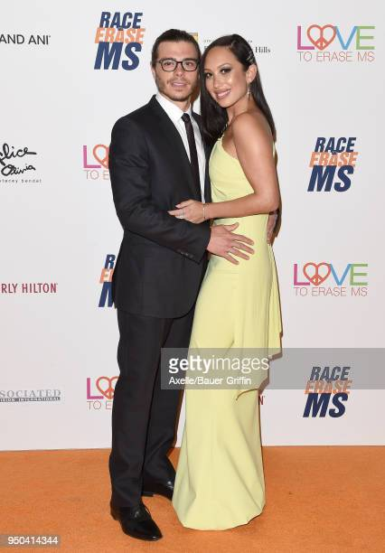 Actor Matthew Lawrence and dancer Cheryl Burke arrive at the 25th Annual Race to Erase MS Gala at The Beverly Hilton Hotel on April 20 2018 in...