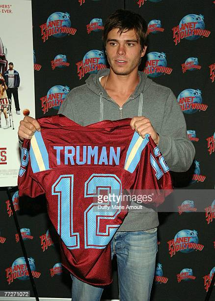 Actor Matthew Lawrence promotes his role in 'The Comebacks' by donating the football jersey he wore in the film at Planet Hollywood Times Square on...