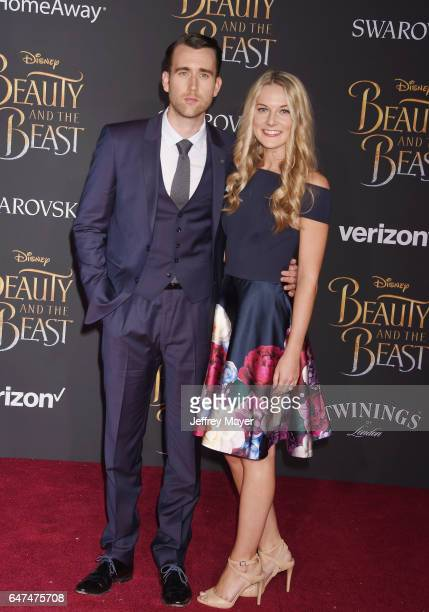 Actor Matthew Lewis and Angela Jones arrive at the Premiere Of Disney's 'Beauty And The Beast' at the El Capitan Theatre on March 2 2017 in Los...