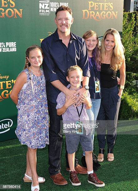 Actor Matthew Lillard and wife Heather Helm and family attend the World Premiere of Disney's 'Pete's Dragon' at the El Capitan Theatre on August 8,...