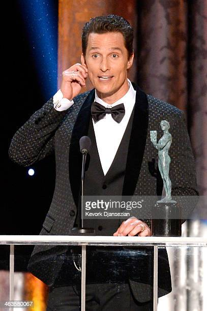 Actor Matthew McConaughey accepts the Outstanding Performance by a Male Actor in a Leading Role award for 'Dallas Buyers Club' onstage during the...