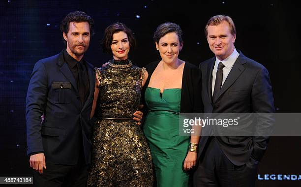 Actor Matthew McConaughey actress Anne Hathaway producer Emma Thomas and director Christopher Nolan attend 'Interstellar' premiere at UME Cinema on...