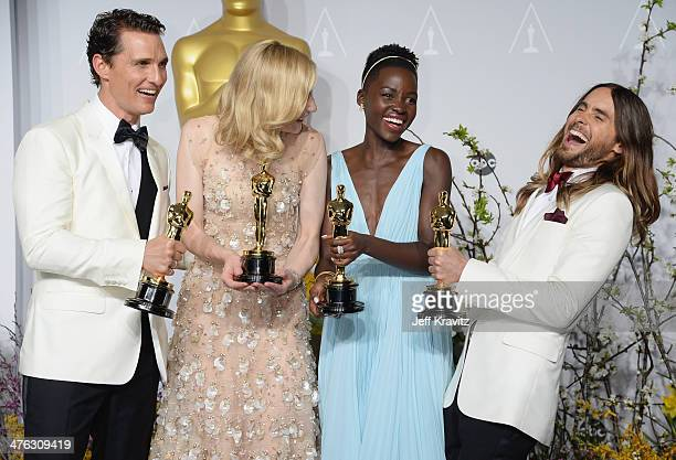 Actor Matthew McConaughey actress Cate Blanchett actress Lupita Nyong'o and actor Jared Leto pose in the press room during the Oscars at Loews...