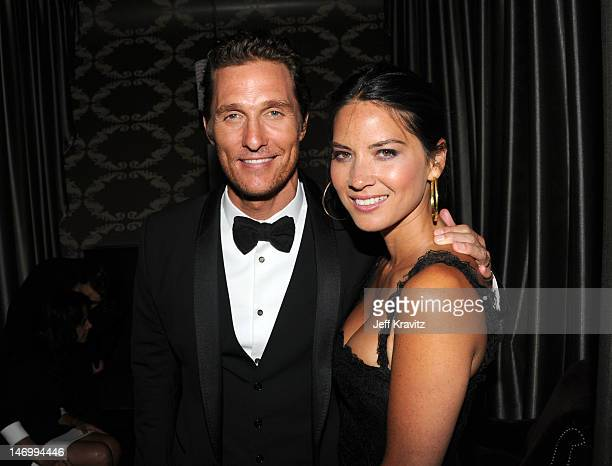 """Actor Matthew McConaughey & actress Olivia Munn attend the after party for the closing night gala premiere of """"Magic Mike"""" at the 2012 Los Angeles..."""