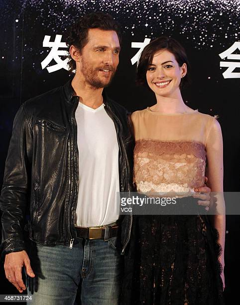 Actor Matthew McConaughey and actress Anne Hathaway attend director Christopher Nolan's film Interstellar premiere press conference at the Peninsula...