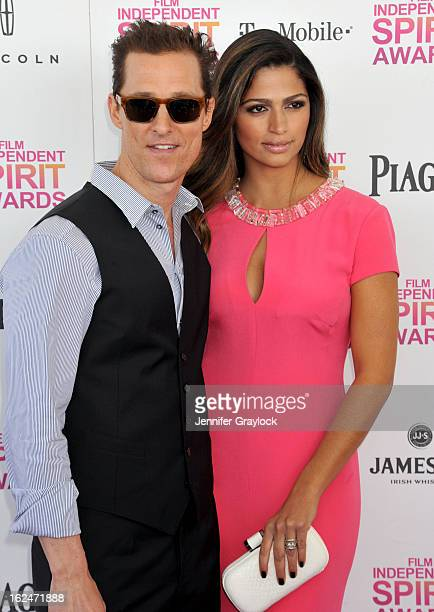 Actor Matthew McConaughey and actress Camila Alves attend the 2013 Film Independent Spirit Awards held on the beach in Santa Monica on February 23...