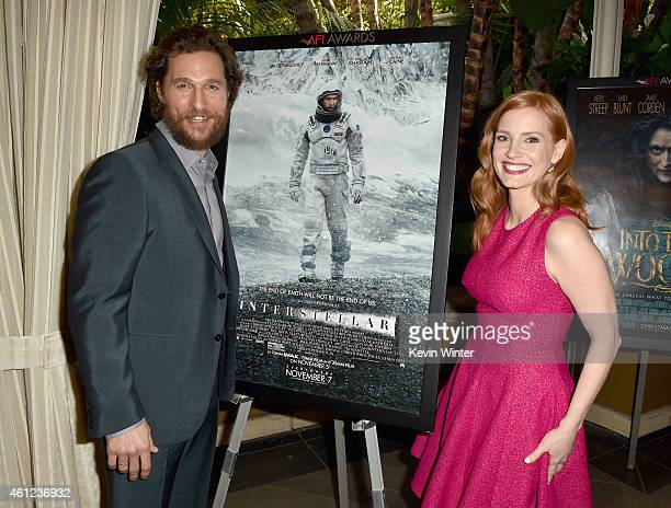 Actor Matthew McConaughey and actress Jessica Chastain attend the 15th Annual AFI Awards at Four Seasons Hotel Los Angeles at Beverly Hills on...