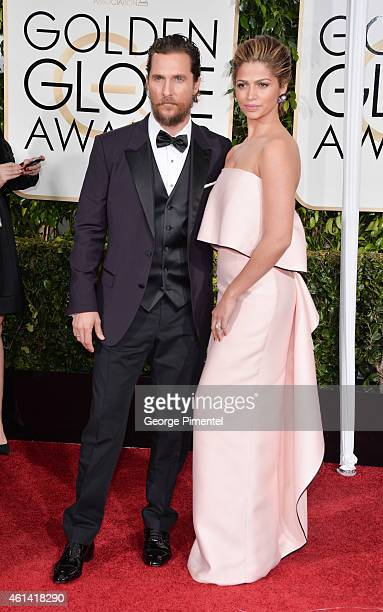 Actor Matthew McConaughey and Camila Alves attend the 72nd Annual Golden Globe Awards at The Beverly Hilton Hotel on January 11 2015 in Beverly Hills...