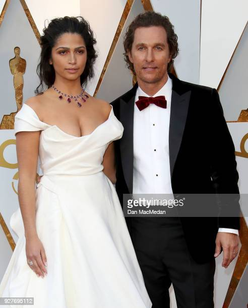 Actor Matthew McConaughey and Camila Alves attend the 90th Annual Academy Awards at Hollywood Highland Center on March 4 2018 in Hollywood California
