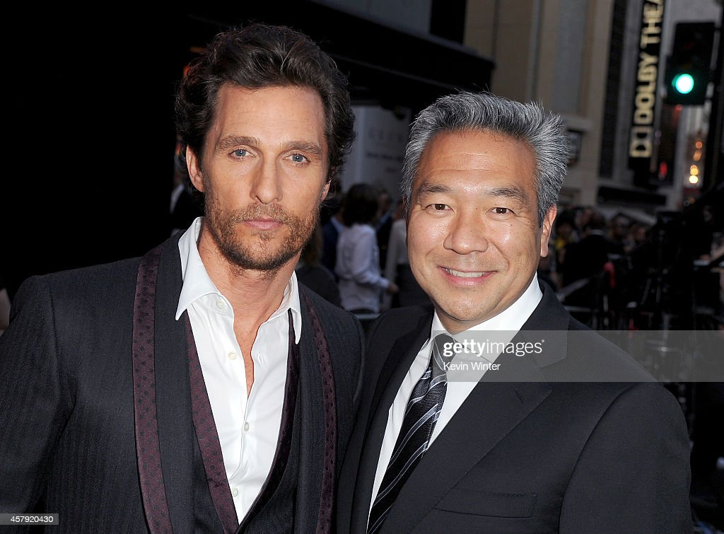 Actor Matthew McConaughey (L) and chairman and CEO of Warner Bros. Entertainment Kevin Tsujihara attend the premiere of Paramount Pictures' 'Interstellar' at TCL Chinese Theatre IMAX on October 26, 2014 in Hollywood, California.