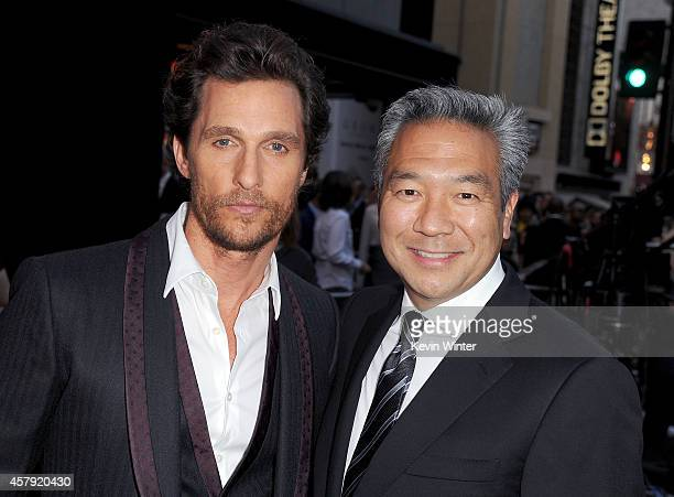 Actor Matthew McConaughey and chairman and CEO of Warner Bros Entertainment Kevin Tsujihara attend the premiere of Paramount Pictures' Interstellar...