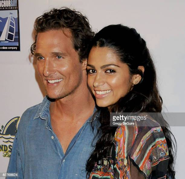 Actor Matthew McConaughey and Designer Camila Alves arrive at the 'Surfer Dude' premiere at the Malibu Cinemas on September 10 2008 in Malibu...