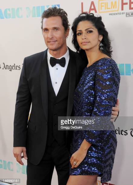Actor Matthew McConaughey and designer/model Camila Alves arrive at the 2012 Los Angeles Film Festival closing night gala premiere of 'Magic Mike' at...