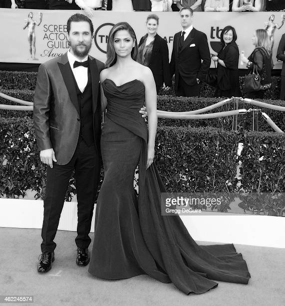 Actor Matthew McConaughey and designer/model Camila Alves arrive at the 21st Annual Screen Actors Guild Awards at The Shrine Auditorium on January 25...