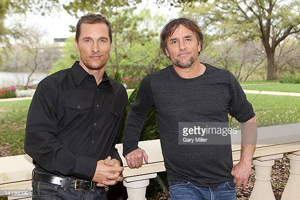 Actor Matthew McConaughey and director Richard Linklater pose during a photo call for their new film Bernie at the Four Seasons Hotel on March 14...