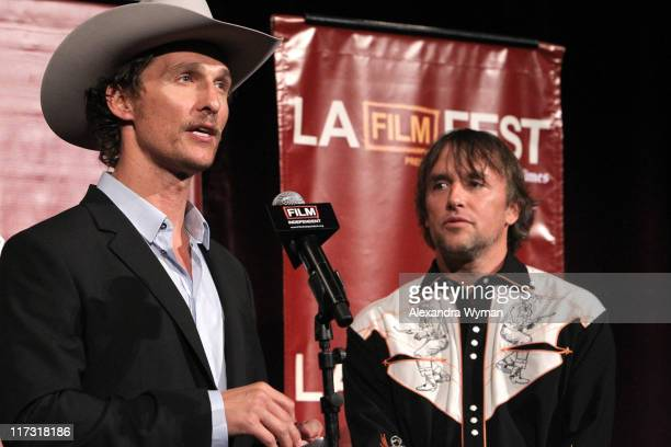 Actor Matthew McConaughey and director/writer/producer Richard Linklater speaks onstage at the 2011 Los Angeles Film Festival opening night premiere...