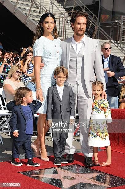 Actor Matthew McConaughey and family pose at the ceremony that honored him with a Star of the Hollywood Walk of Fame