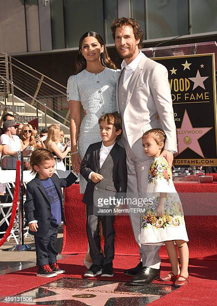 Actor Matthew McConaughey and his family Camila Alves, Levi McConaughey, Livingston McConaughey , and Vida McConaughey attend The Hollywood Walk Of...