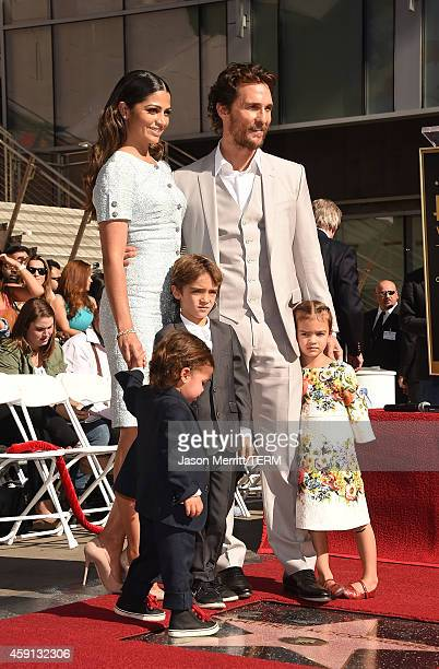 Actor Matthew McConaughey and his family Camila Alves Levi McConaughey Livingston McConaughey and Vida McConaughey attend The Hollywood Walk Of Fame...