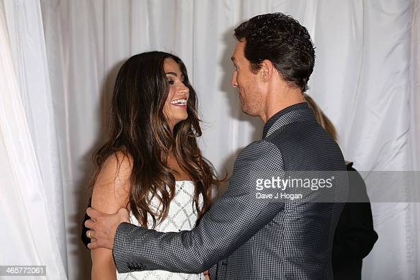 Actor Matthew McConaughey and his wife Camila Alves attend the UK Premiere of Dallas Buyers Club the Washington Mayfair Hotel on January 29 2014 in...