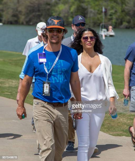 Actor Matthew McConaughey and his wife Camila Alves enjoy the WGCDell Technologies Match Play tournament on March 22 at the Austin Country Club in...