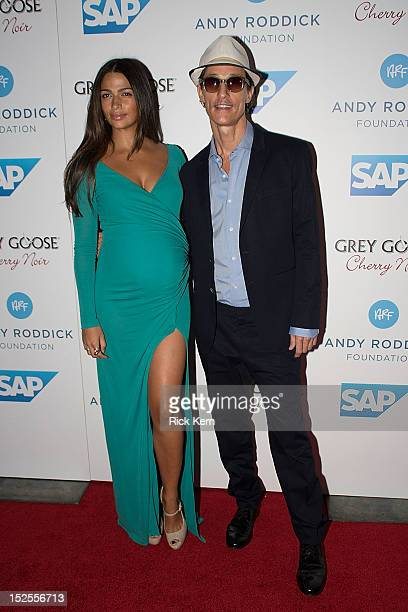 Actor Matthew McConaughey and his wife model Camila Alves arrive at the 7th Annual Andy Roddick Foundation Gala at W Hotel Austin on September 21...
