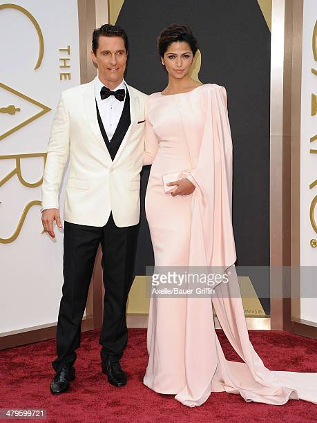 Actor Matthew McConaughey and model Camila Alves arrive at the 86th Annual Academy Awards at Hollywood Highland Center on March 2 2014 in Hollywood...