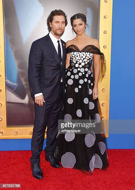 Actor Matthew McConaughey and model Camila Alves arrive at the Premiere Of Universal Pictures' 'Sing' at the Microsoft Theater at LA Live on December...